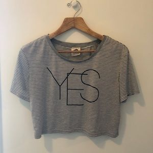 "Striped ""YES"" Grey Crop Top Tee"